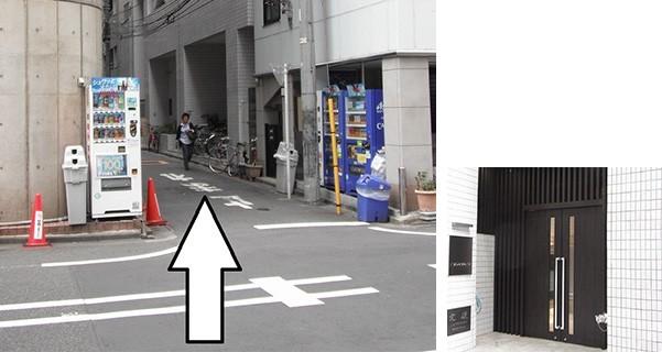 すぐ左手の路地に入り、約15mで右側に10階建のマンション「ミツワマンション」の入口があります。